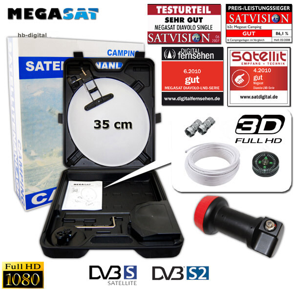 megasat camping koffer sat anlage digital lnb 0 1 db hdtv saugfu kabel kompass ebay. Black Bedroom Furniture Sets. Home Design Ideas