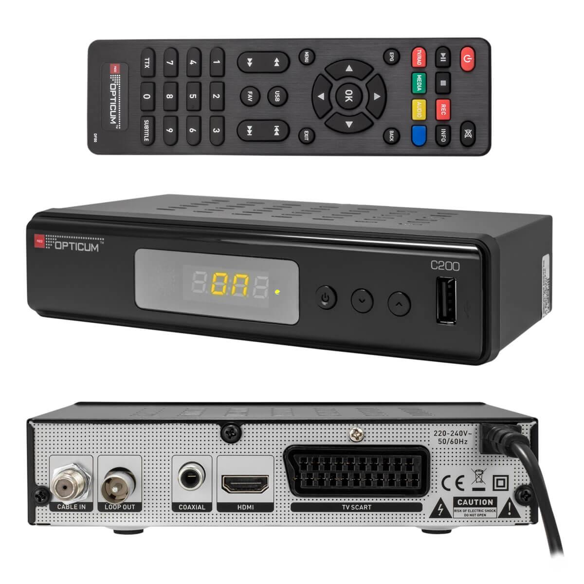 digital kabelreceiver kabel tv receiver dvb c hdtv opticum c200 usb hdmi scart ebay. Black Bedroom Furniture Sets. Home Design Ideas